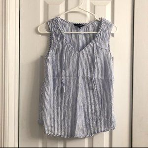 Lands' End Blue & White Striped Sleeveless Top 4